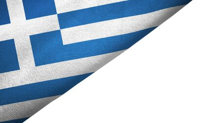 Greece flag isolated on white background placed on the left side with blank copy space 写真素材