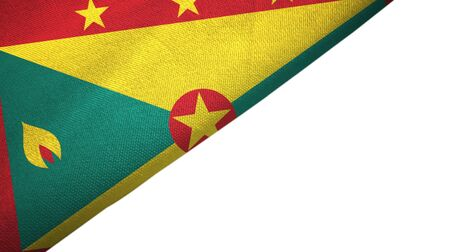Grenada flag isolated on white background placed on the left side with blank copy space 写真素材