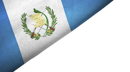Guatemala flag isolated on white background placed on the left side with blank copy space