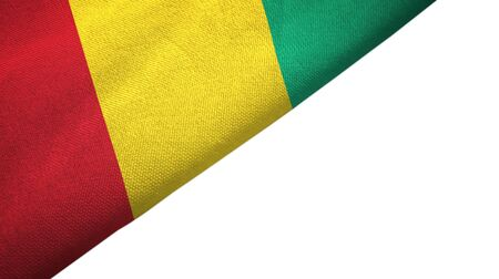 Guinea flag isolated on white background placed on the left side with blank copy space