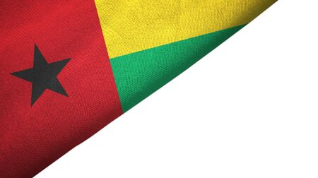 Guinea-Bissau flag isolated on white background placed on the left side with blank copy space
