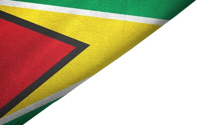 Guyana flag isolated on white background placed on the left side with blank copy space 写真素材