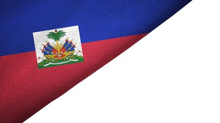 Haiti flag isolated on white background placed on the left side with blank copy space