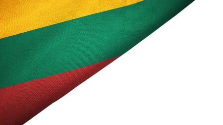 Lithuania flag isolated on white background placed on the left side with blank copy space