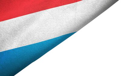 Luxembourg flag isolated on white background placed on the left side with blank copy space