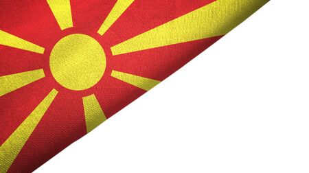 North Macedonia flag isolated on white background placed on the left side with blank copy space 写真素材