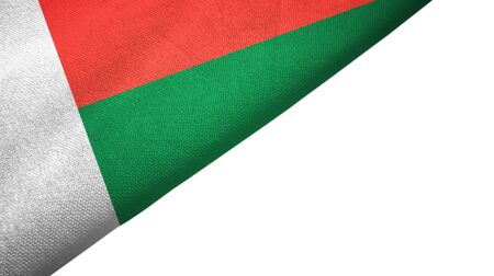 Madagascar flag isolated on white background placed on the left side with blank copy space 写真素材