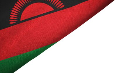 Malawi flag isolated on white background placed on the left side with blank copy space