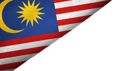 Malaysia flag isolated on white background placed on the left side with blank copy space