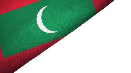 Maldives flag isolated on white background placed on the left side with blank copy space 写真素材
