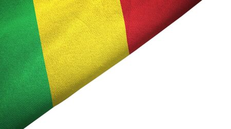 Mali flag isolated on white background placed on the left side with blank copy space