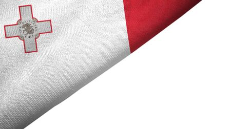 Malta flag isolated on white background placed on the left side with blank copy space