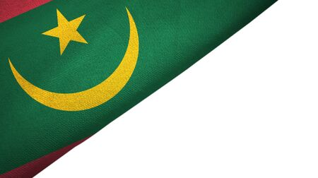 Mauritania flag isolated on white background placed on the left side with blank copy space