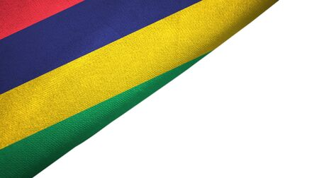 Mauritius flag isolated on white background placed on the left side with blank copy space 写真素材