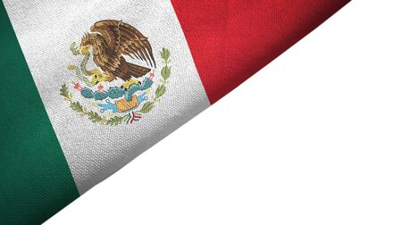 Mexico flag isolated on white background placed on the left side with blank copy space