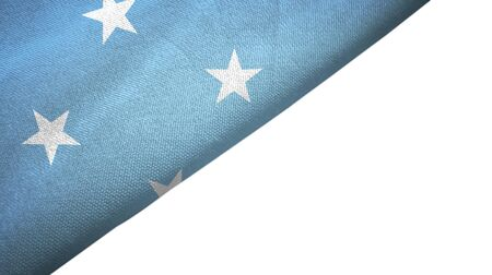 Micronesia flag isolated on white background placed on the left side with blank copy space