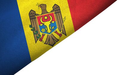 Moldova flag isolated on white background placed on the left side with blank copy space