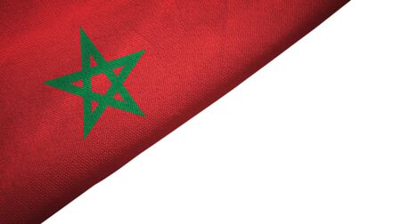 Morocco flag isolated on white background placed on the left side with blank copy space 写真素材