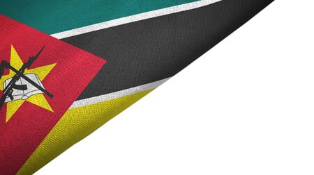 Mozambique flag isolated on white background placed on the left side with blank copy space