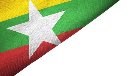 Myanmar flag isolated on white background placed on the left side with blank copy space