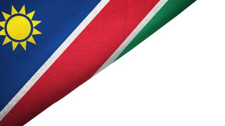 Namibia flag isolated on white background placed on the left side with blank copy space 写真素材