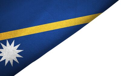 Nauru flag isolated on white background placed on the left side with blank copy space 写真素材