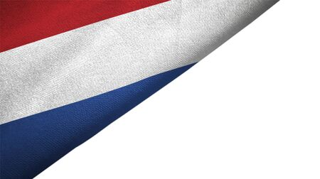 Netherlands flag isolated on white background placed on the left side with blank copy space