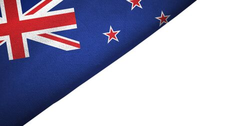 New Zealand flag isolated on white background placed on the left side with blank copy space