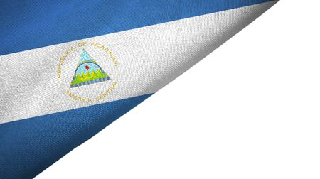 Nicaragua flag isolated on white background placed on the left side with blank copy space