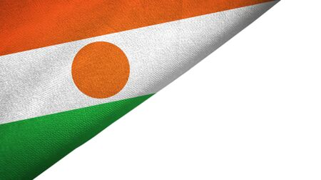 Niger flag isolated on white background placed on the left side with blank copy space 写真素材