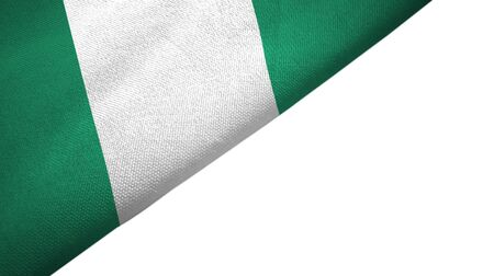 Nigeria flag isolated on white background placed on the left side with blank copy space