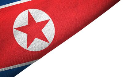 North Korea flag isolated on white background placed on the left side with blank copy space 写真素材