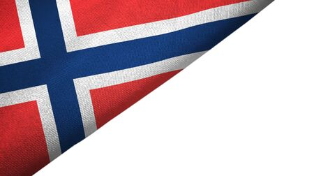 Norway flag isolated on white background placed on the left side with blank copy space Stock Photo