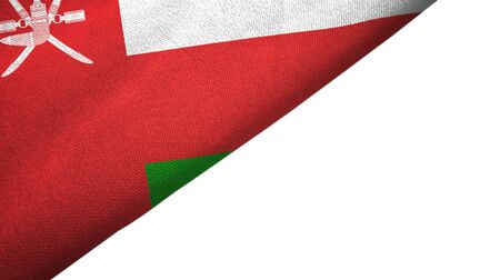 Oman flag isolated on white background placed on the left side with blank copy space
