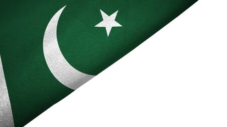 Pakistan flag isolated on white background placed on the left side with blank copy space