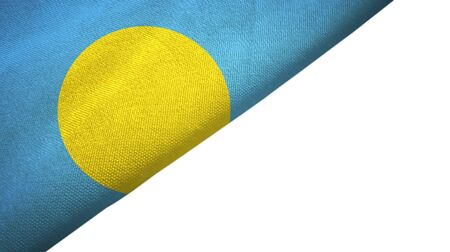 Palau flag isolated on white background placed on the left side with blank copy space