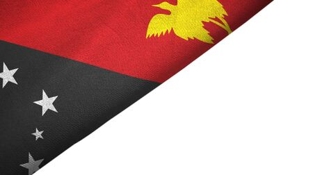 Papua New Guinea flag isolated on white background placed on the left side with blank copy space 写真素材