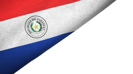 Paraguay flag isolated on white background placed on the left side with blank copy space