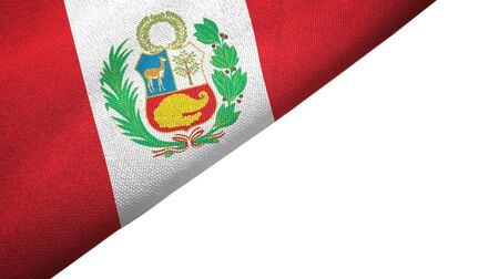 Peru flag isolated on white background placed on the left side with blank copy space