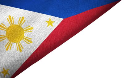 Philippines flag isolated on white background placed on the left side with blank copy space Imagens
