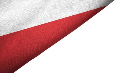 Poland flag isolated on white background placed on the left side with blank copy space