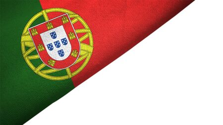 Portugal flag isolated on white background placed on the left side with blank copy space