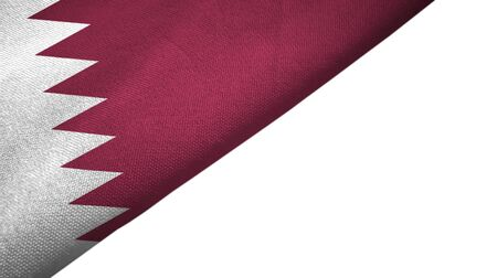 Qatar flag isolated on white background placed on the left side with blank copy space 写真素材