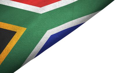 South Africa flag isolated on white background placed on the left side with blank copy space 写真素材