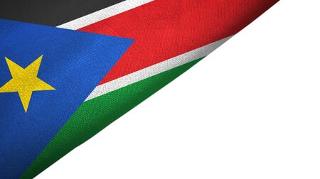 South Sudan flag isolated on white background placed on the left side with blank copy space