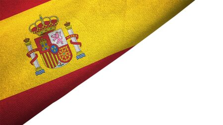 Spain flag isolated on white background placed on the left side with blank copy space 写真素材