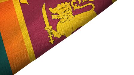 Sri Lanka flag isolated on white background placed on the left side with blank copy space 写真素材