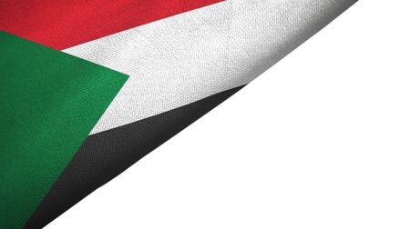 Sudan flag isolated on white background placed on the left side with blank copy space 写真素材