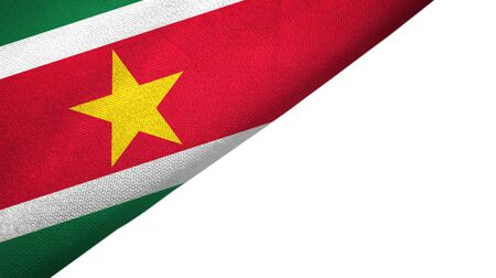 Suriname flag isolated on white background placed on the left side with blank copy space 写真素材