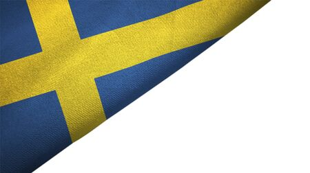 Sweden flag isolated on white background placed on the left side with blank copy space 写真素材